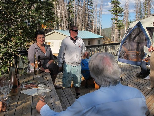 Sara and Troy Harker lead guests of Cathedral Lakes Lodge through a tasting of Rustic Roots Winery