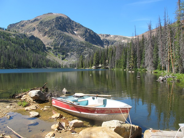 Boat available for use on Quiniscoe Lake at Cathedral Lakes Lodge