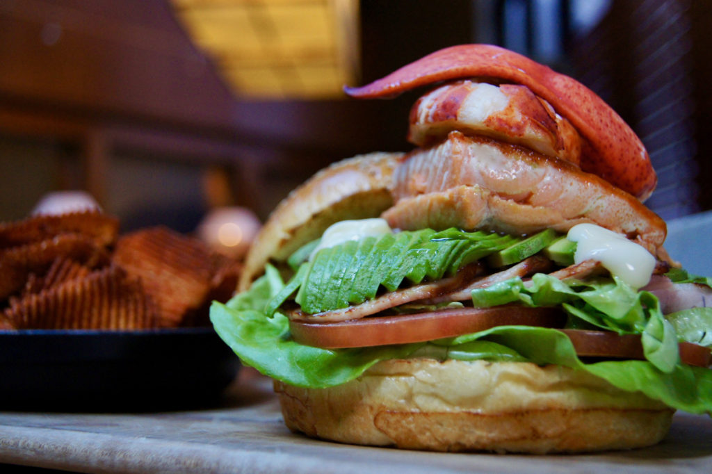 The West Coast Salmon East Coast Lobster Burger from Yew Seafood + Bar in the Four Seasons Hotel in Vancouver.