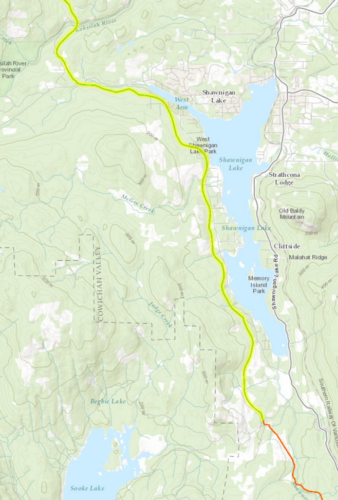 Map of the route from Shawnigan Lake to the 1911 Kinsol Trestle.