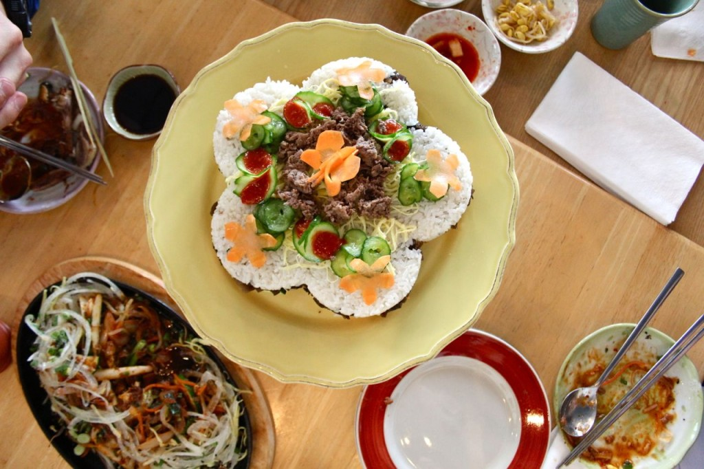 A artistically plated dish of bibimbap.