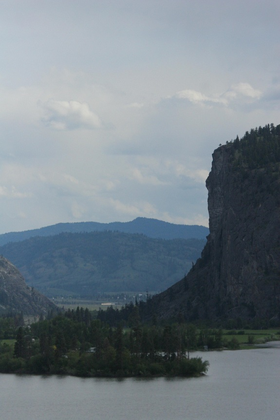 Densely forested mountains overlooking the ocean make up the McIntyre Bluff.