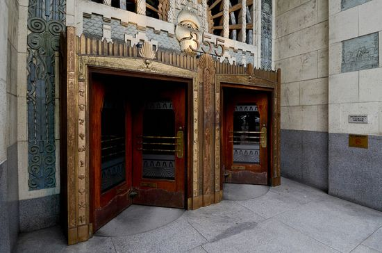 An opulent entrance to a building used in the filming of the TV show Smallville.