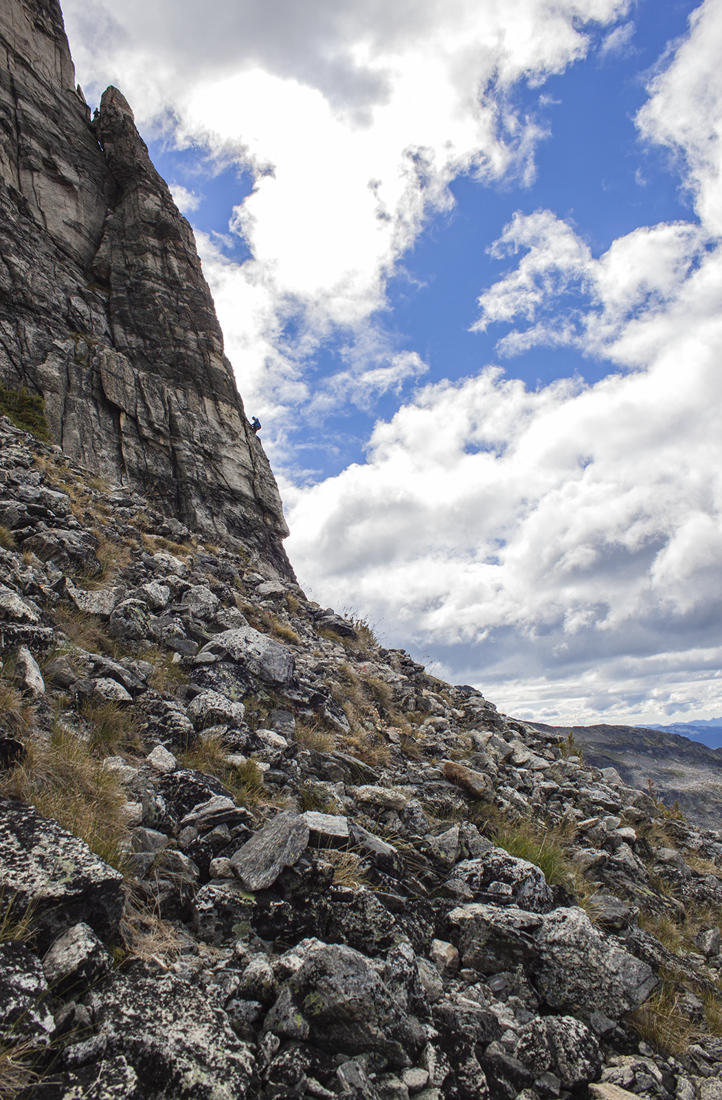 A man climbs up a sheer rock face.