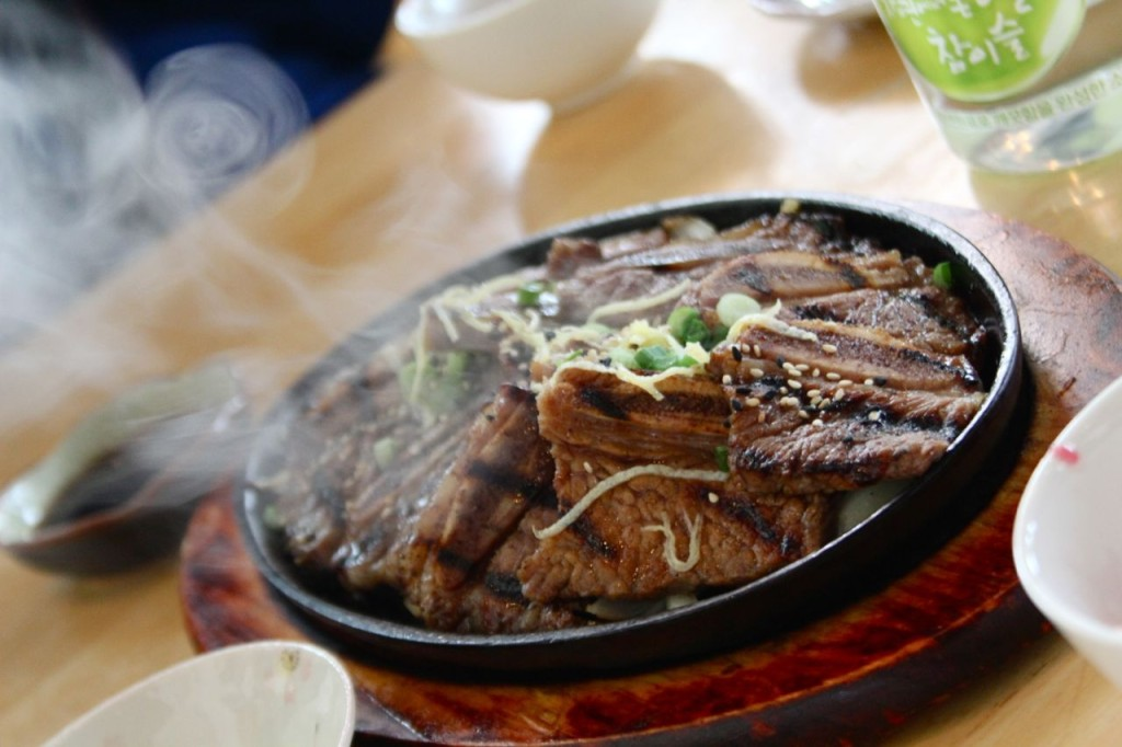 A steaming platter of kalbi.