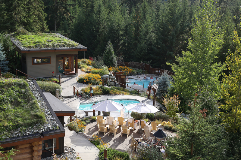 View of a luxury spa in Whistler that is nestled in a dense forest.