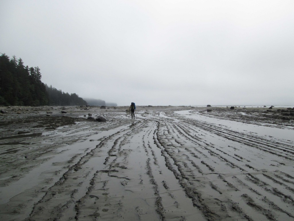 A hiker walks along a rugged beach on an overcast day.
