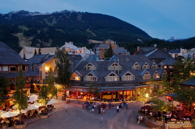 Whistler Village is aglow in the early evening.