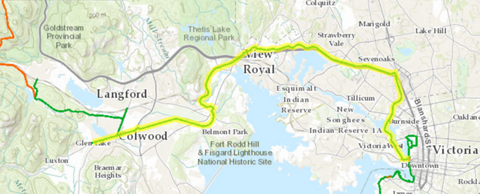 Map of the Galloping Goose Regional Trail.
