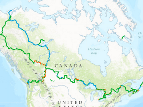 A map of the Great Trails links.
