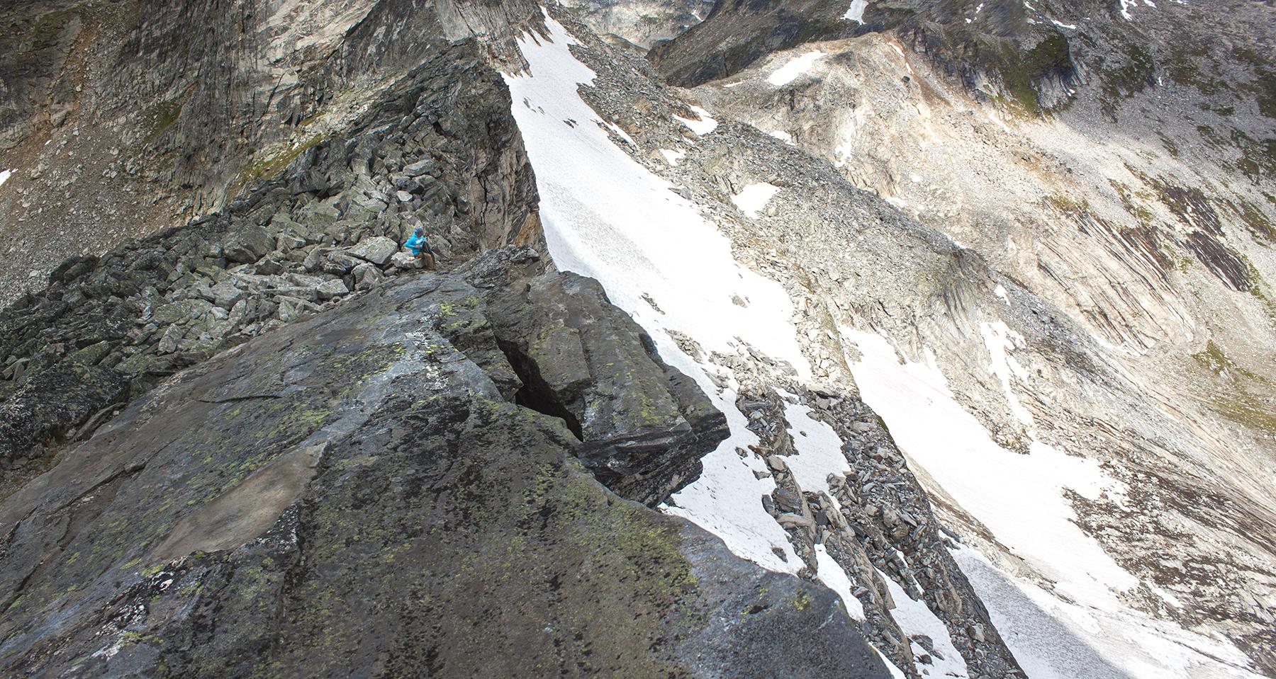 A snow covered mountain ridge.