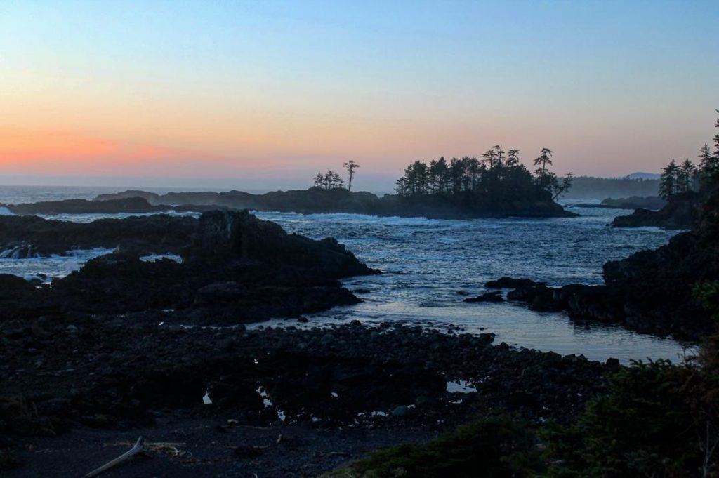 Sunset views along the Wild Pacific Trail in Ucluelet.