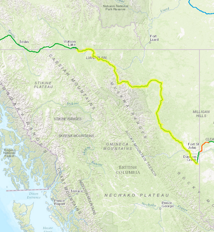 Map of the Alaska Highway.