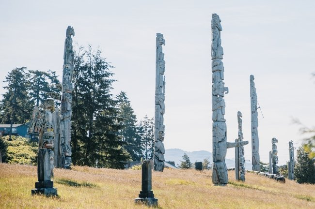 The Namgis Burial Grounds at Alert Bay off Vancouver Island.