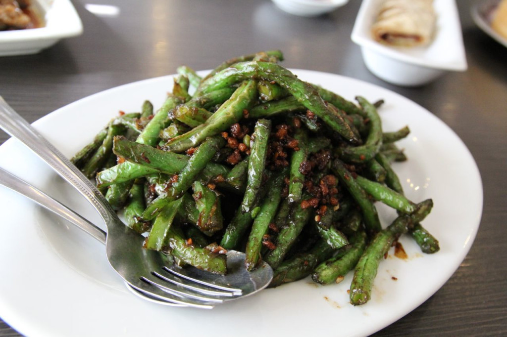 A mountain of sauteed green beans.