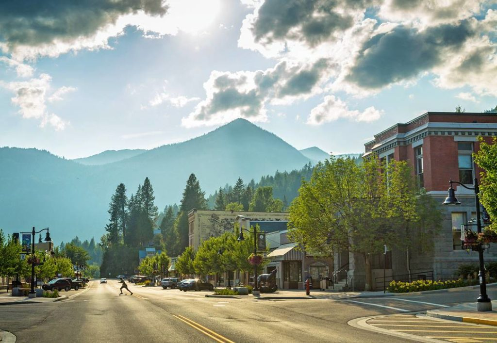 Sun drenched Main street in Rossland.