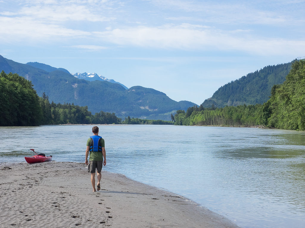 Walking back to our kayaks before completing the next section of the river.