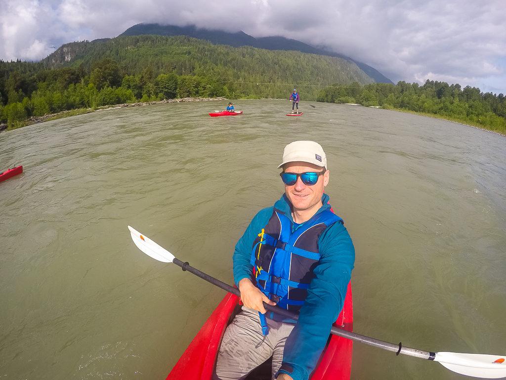Kayaking on the Squamish River.