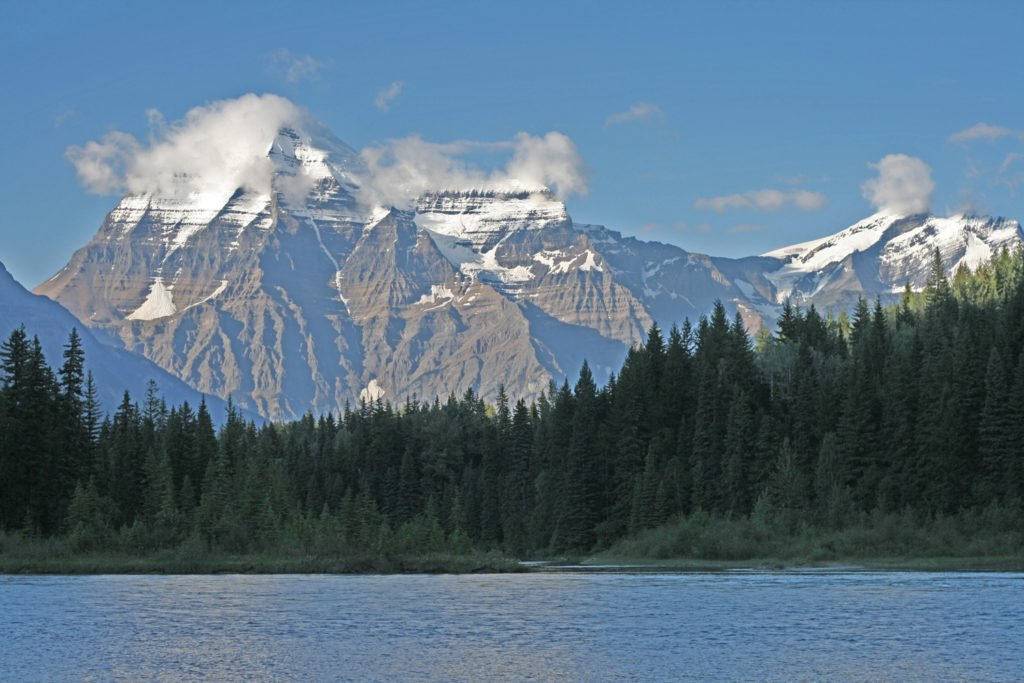 The journey begins near Mount Robson. This is the highest peak in the Canadian Rockies.