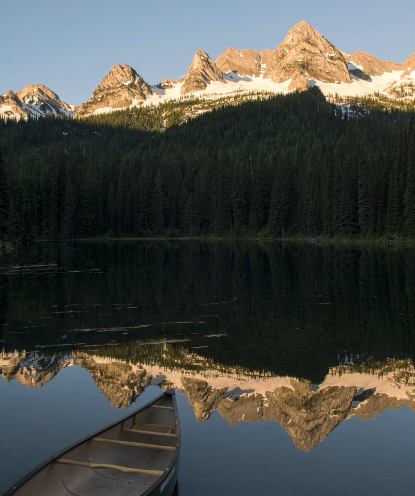 Sunrise on the Rocky Mountains and Island Lake near Fernie.