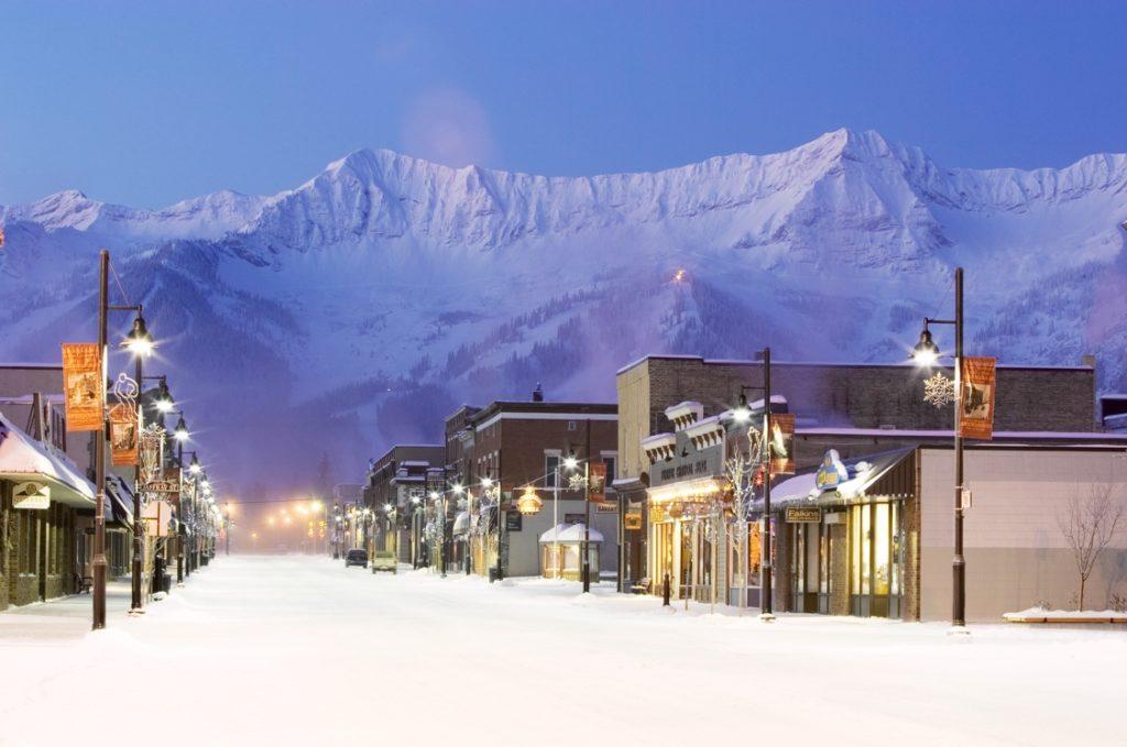 Downtown Fernie in winter.