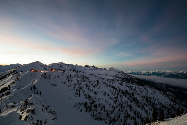 Beautiful skies over Kicking Horse Mountain Resort in Golden.