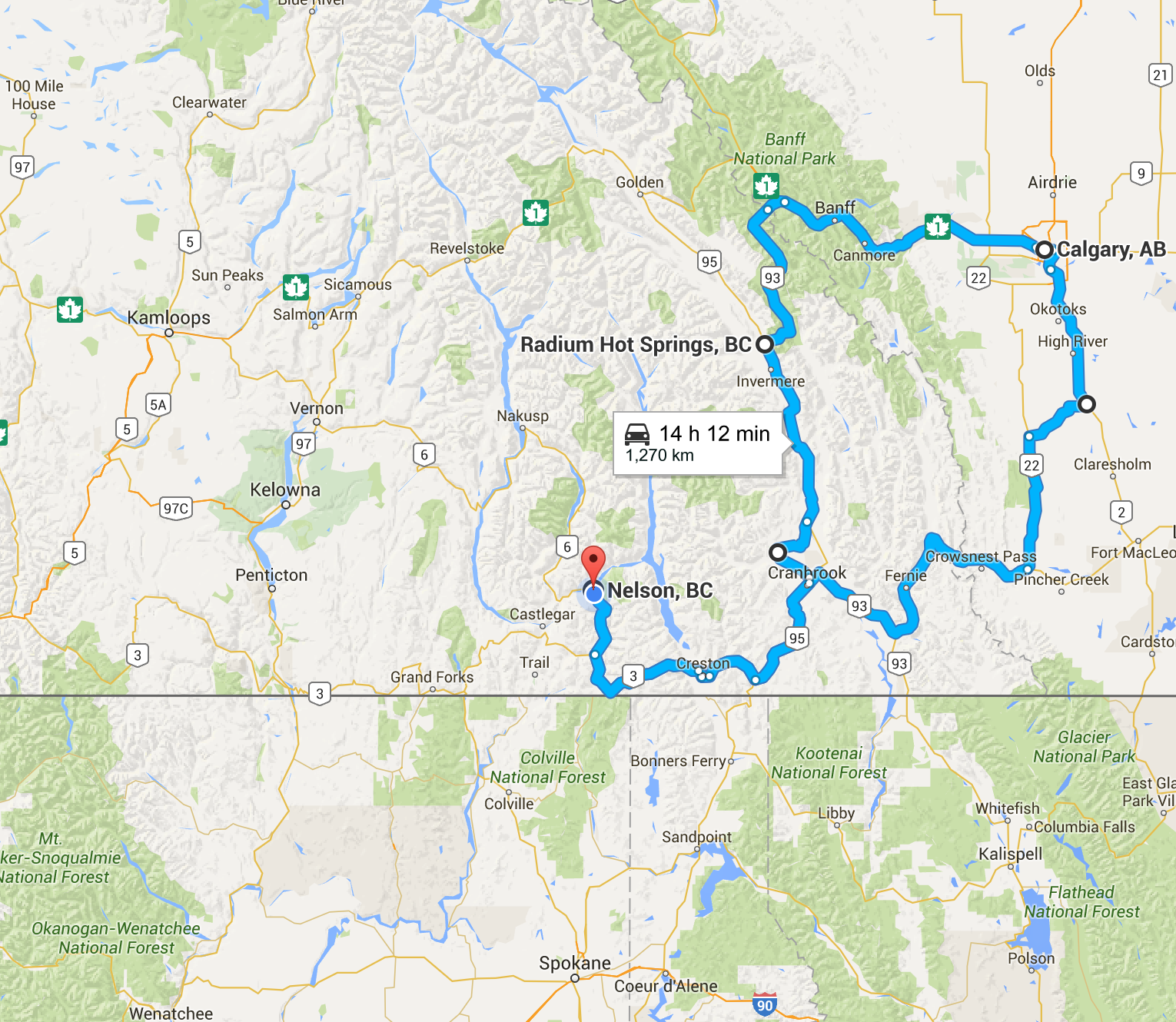 An illustrated map with a blue line indicating the route from Nelson to Calgary and back.