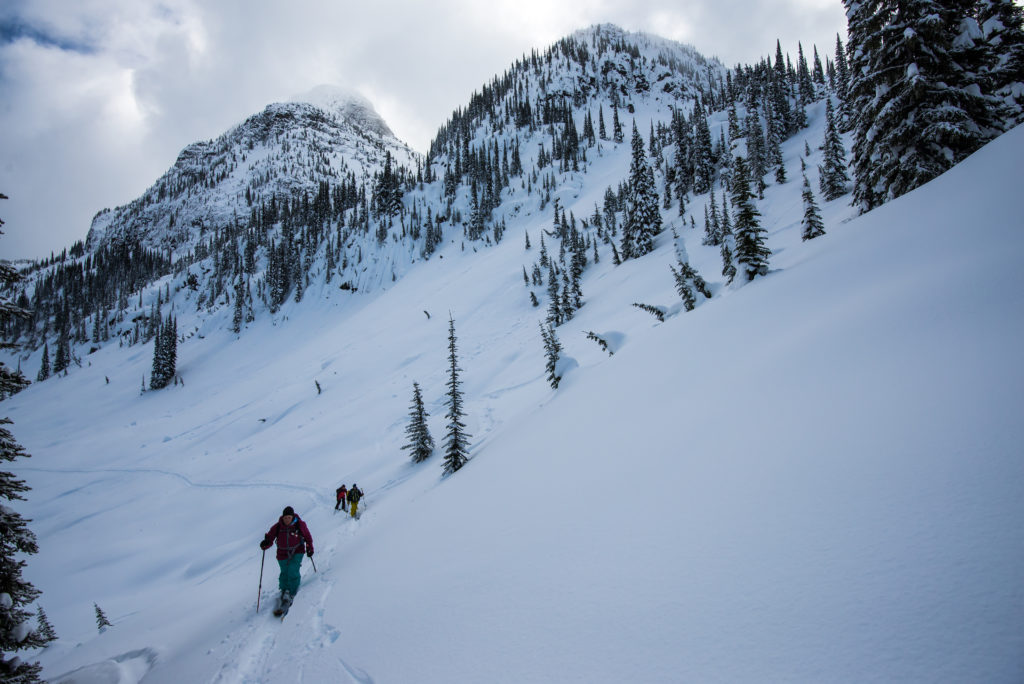 Heli-assisted ski touring with Selkirk Tangiers Heli Skiing in Revelstoke.
