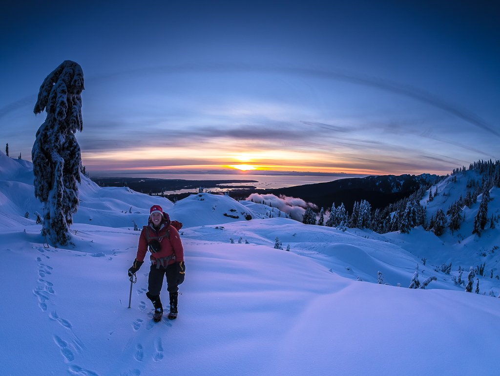 Hiking out at sunset after exploring Mount Seymour Provincial Park for the day.