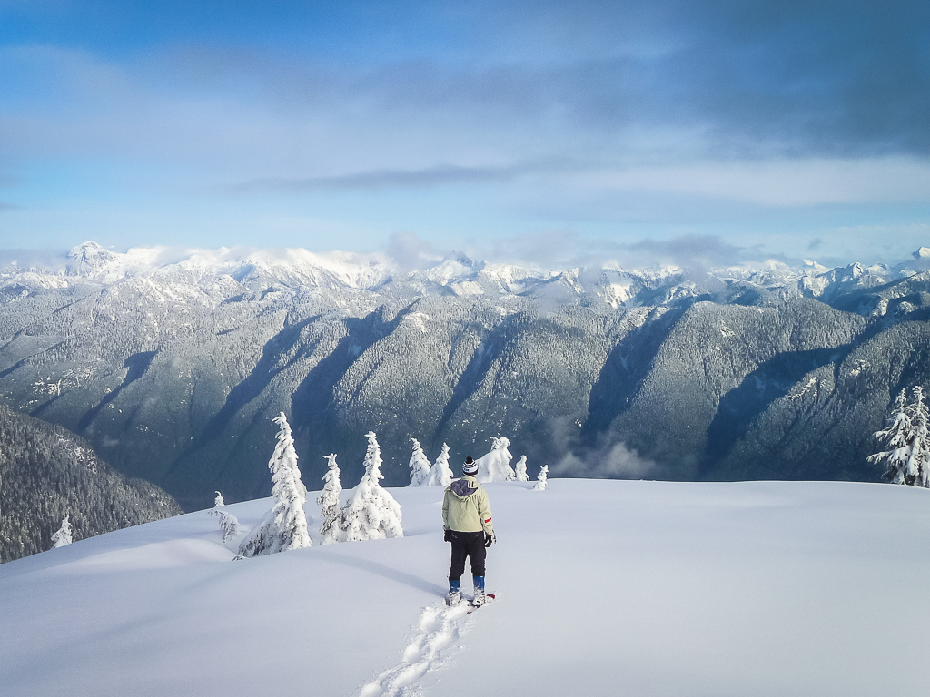A skier creating fresh tracks and taking in the view out from the sub-summit of Mount Seymour.