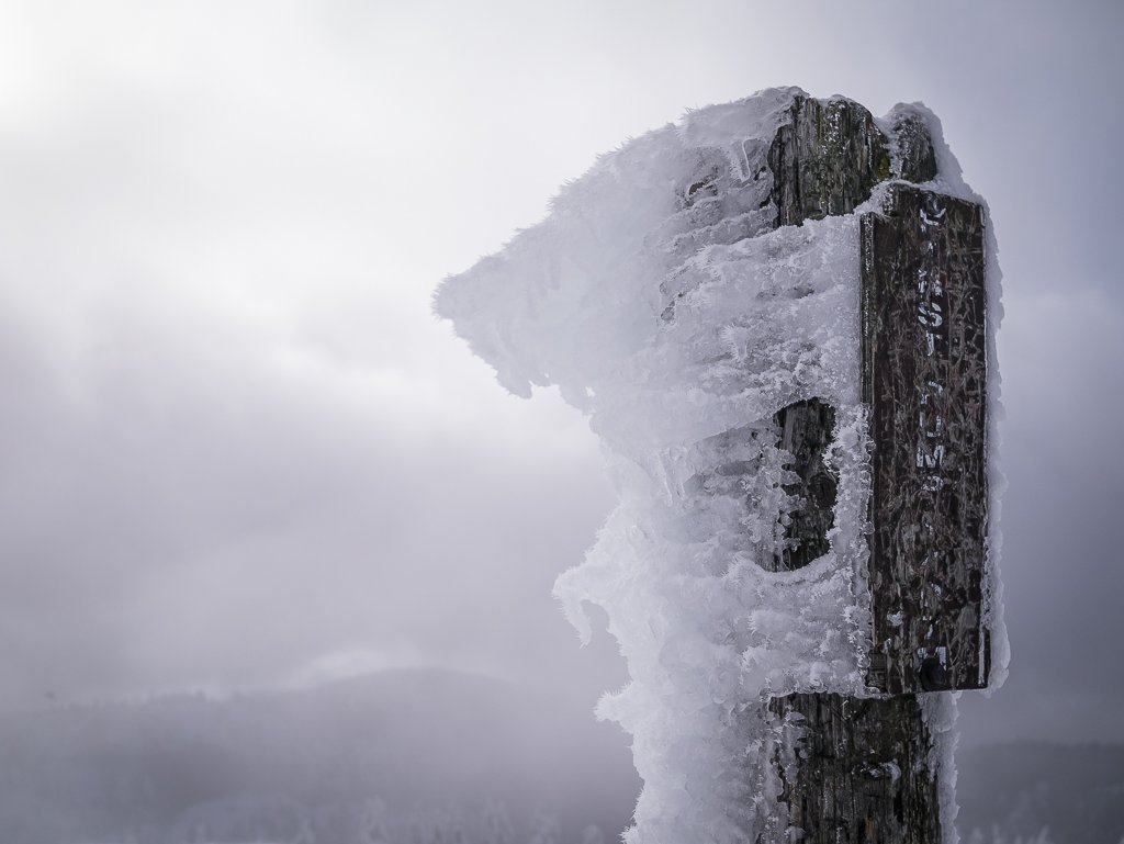 Rime encrusted summit pole on one of the sub-summits of Mount Seymour.