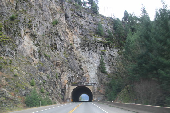 View of a very short highway tunnel.