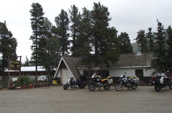 Motorcycles at Rancheria Lodge on the Alaska Highway