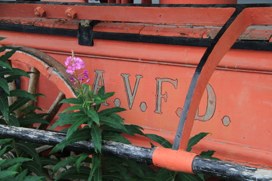 Antique fire engine in Atlin, BC