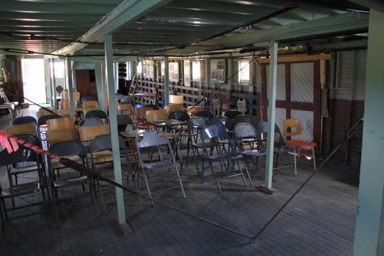 Interior of the ship Tarahne in Atlin, BC.