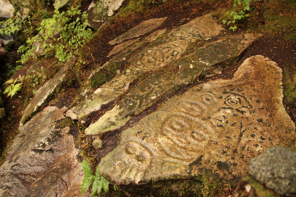 Intricate carvings in a set of stone stairs in the forest.