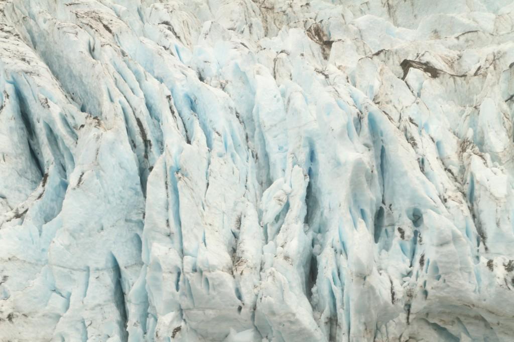 A brilliant blue and white glacier.