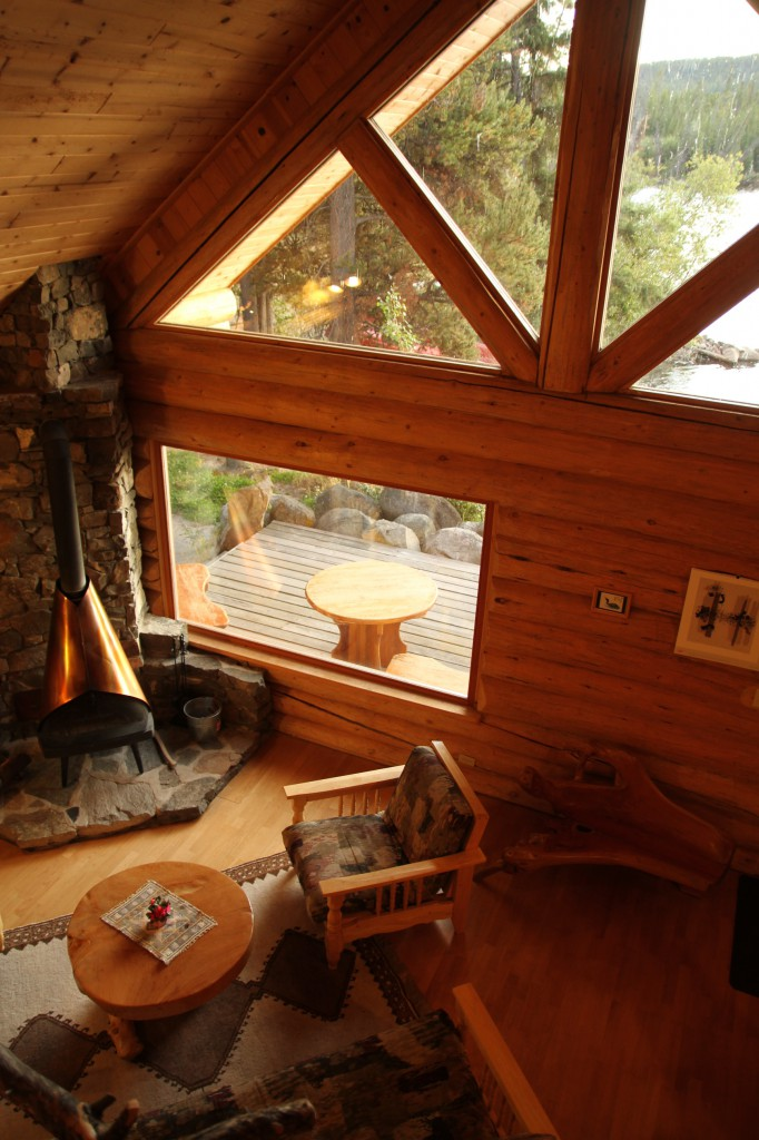 Cozy interior of a log cabin.