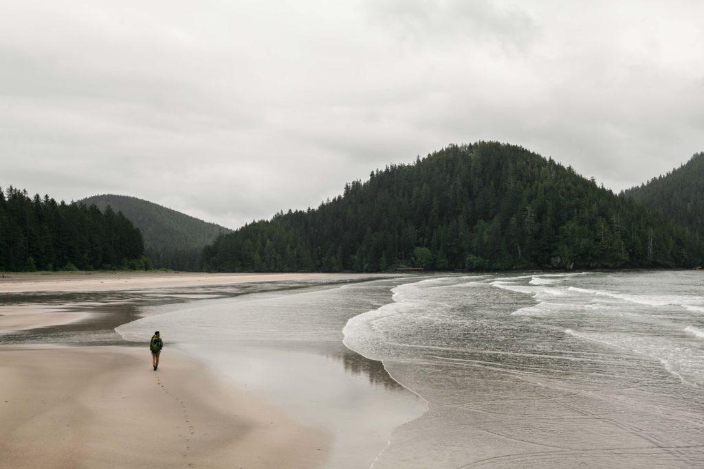 A person walks across a sprawling sandy beach under an overcast sky.