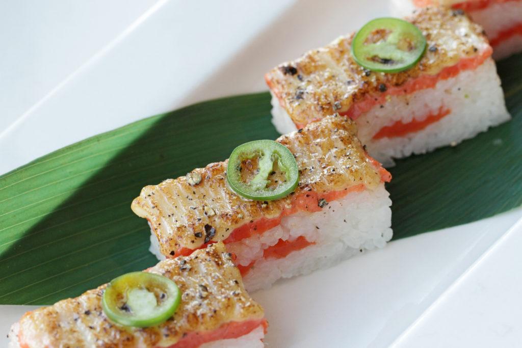 The Salmon Oshi Sushi at Miku.