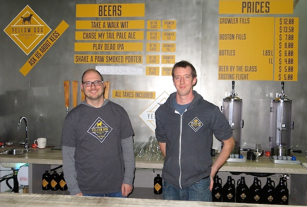 Mike Coghill and Liam Murphy at Yellow Dog Brewing in Port Moody.