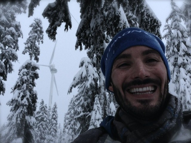 Selfie with the turbine on Grouse Mountain. Photo: SYinc