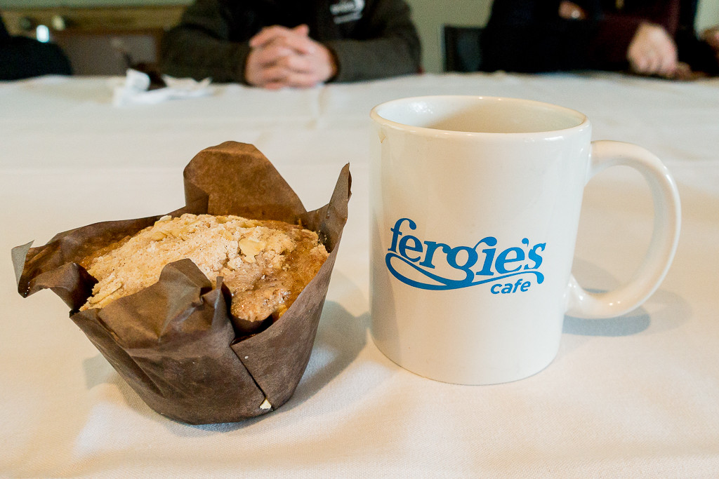 Muffin and coffee at Fergie's in Squamish