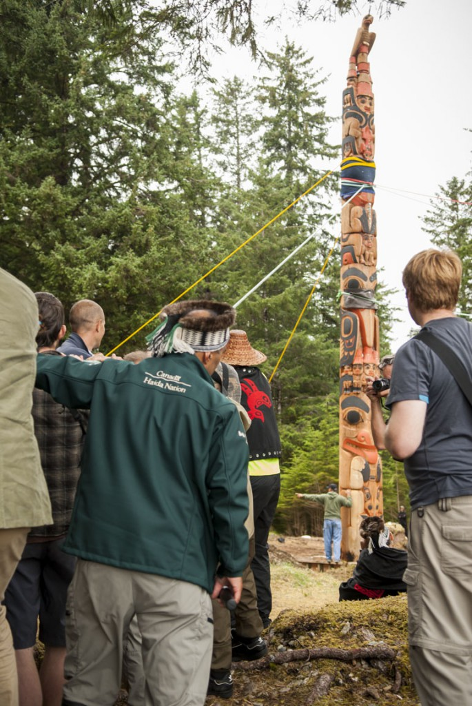 Raising the Gwaii Haanas Legacy Pole in Haida Gwaii, BC
