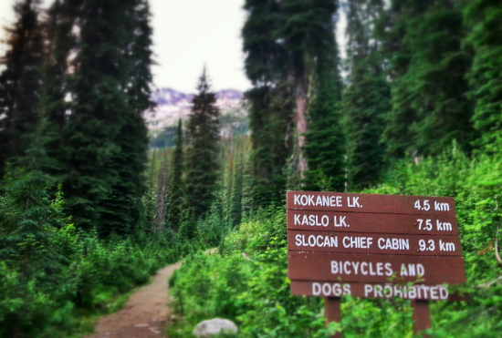 A wooden trail sign at the start of the trail in Kokanee Glacier Provincial Park, with kilometre markers for Kokanee Lake, Kaso Lake and Slocan Chief Cabin.