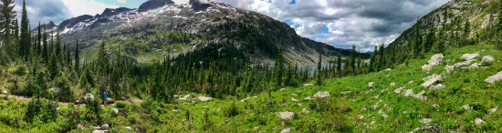 A panoramic view of Kokanee Provincial Park approaching Kokanee Lake, with grass, sparse trees and the mountain towering in the background.