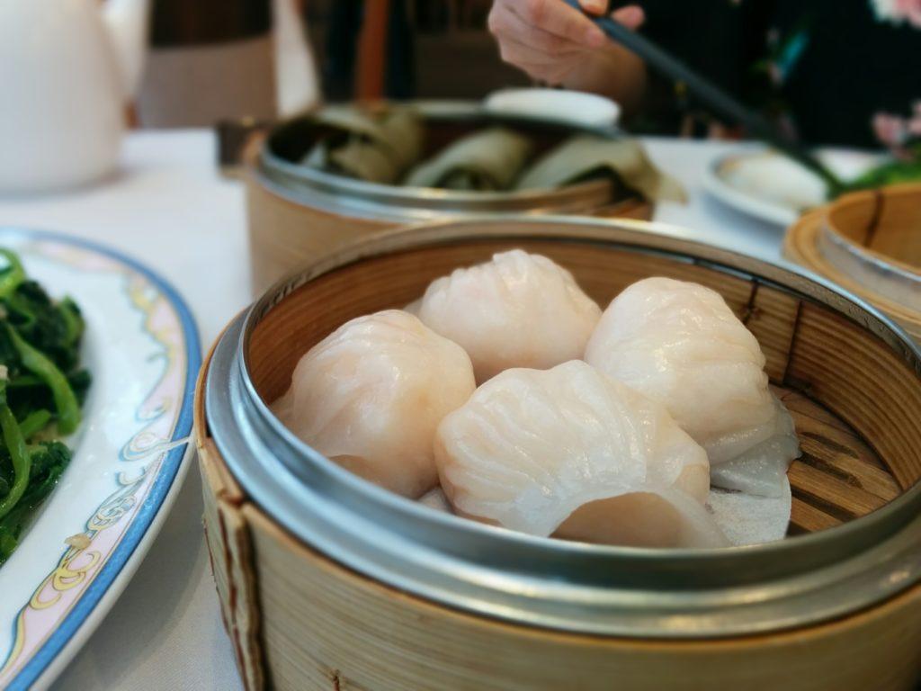 Har gow steamed dumplings in Richmond, BC.