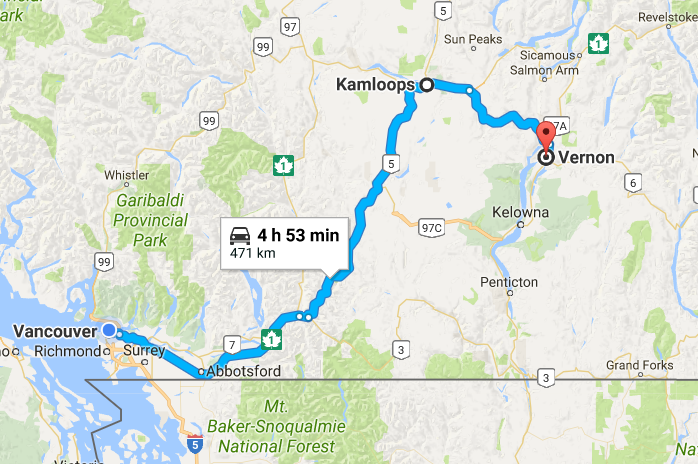 An illustrated map with a blue line indicating the route between Vancouver and Vernon.