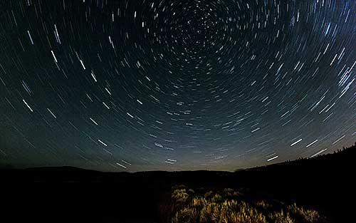 Star trails over the grasslands