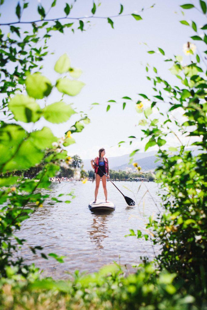 Paddle boarding on Kalamalka Lake near Vernon.
